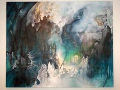 I love the beautiful mood of this painting as the paint flows and runs together.  A beautiful abstract piece.
