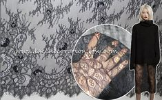 Sell By Yard 2014 NEW High Quality Bilateral Eyelash Lace Fabric,  French Style Wedding Dress Lace Fabric, Off White Black Lace Fabric