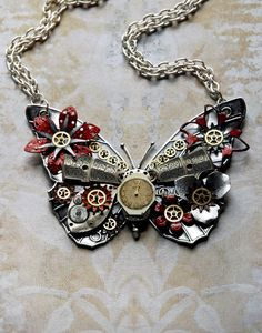 Reserved for Elizabeth - Steampunk Butterfly Necklace - Custom Design Silver Butterfly with Watch Gears Brass Flowers and Jewels. $80.00, via Etsy.