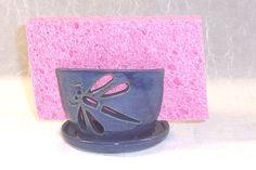 Hamdmade Dragonfly Ceramic Sponge holder by ClaycrazyPottery