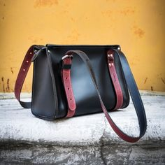 9a85bec0a2eee Small Lili original Ladybuq Art bag handmade out of high quality natural  glossy black leather with red accents