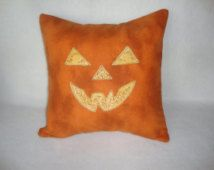 Jack O Lantern Throw Pillow Cover 14 By 14 Face Pumpkin Machine Embroidered…