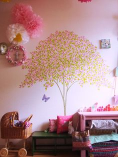 Washi tape wall tree bedroom.
