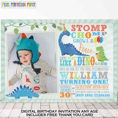 Dinosaur Invitation Birthday Dig Party Reptile 2V