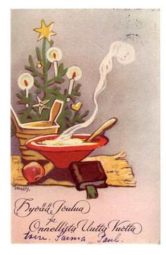 Finnish Christmas Postcard Martta Wendelin Finland 1954
