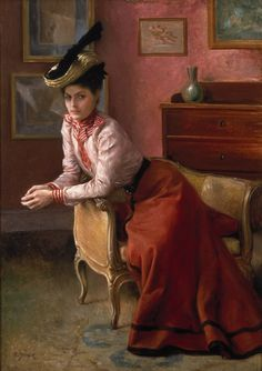 """""""Woman in an Interior"""" - Julius LeBlanc Stewart (French-American, oil on canvas, {realism art beautifully dressed seated female portrait painting Lawrence Alma Tadema, Victorian Art, Cultural, Woman Painting, Dress Painting, Beautiful Paintings, Oeuvre D'art, American Artists, Figurative Art"""