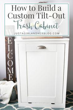 How to Build a Custom Tilt-out Trash Cabinet   JustAGirlAndHerBlog.com