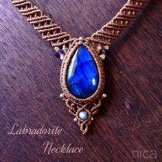 ラブラドライトのブレスと再販ネックレス - 天然石とマクラメアクセサリーのお店 nica