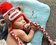 Sock Monkey Hat, Newborn Sock Monkey, Crochet Sock Monkey Hat, Baby Boy - Made To Order