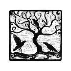 Three Ravens linocut print. $25.00, via Etsy.