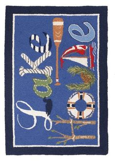 Lake House Hooked Rug Welcome guests this summer with this wonderful hooked rug at your front door  Available from SpacesHomeDecor.com