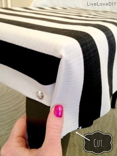 How To Upholster a Bench: A Step-by-Step Tutorial That Makes It Easy! - Crafts Diy Home Furniture Projects, Furniture Makeover, Diy Furniture, Striped Furniture, Modular Furniture, Furniture Showroom, Urban Furniture, Retro Furniture, White Furniture