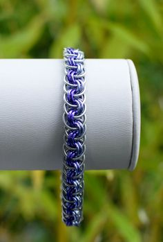 Silver Purple and Lilac Viper Basket Weave by DaisiesChain on Etsy, $18.00