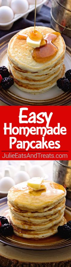Easy Homemade Pancakes Recipe ~ Light, Fluffy, Delicious Pancakes Recipe Made with Pantry Staples that You Will Have in your House! Never go back to Pancake Mix! ~ https://www.julieseatsandtreats.com