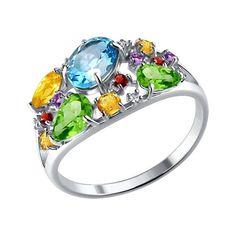 Кольцо из серебра с россыпью полудрагоценных камней
