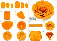Nagyméretű papírvirág készítése - Manó kuckó Silicone Molds, Rose, Flowers, Diy, Creative Ideas, Facebook, Do It Yourself, Pink, Bricolage