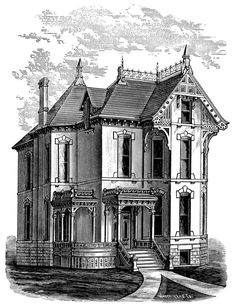 Victorian home clip art, haunted house illustration, spooky house, black and white graphics, Halloween clipart Más Creepy Houses, Spooky House, Halloween House, Victorian Illustration, House Illustration, Illustrations, Haunted House Drawing, Diy Image, Eckhaus