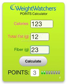 Weight Watchers Points Calculator link http://www.calculatorcat.com/free_calculators/weight_watchers_calculator.phtml