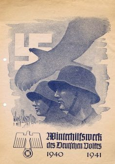 WWII Third Reich Winter Fundraising, 1940 - original vintage poster listed on AntikBar.co.uk