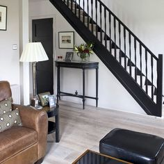 black wooden staircase