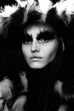 Shadowy fur hoods and statement exaggerated eyebrows at Alexander McQueen AW14 PFW. Shot by Lea Colombo. More images here: http://www.dazeddigital.com/fashion/article/19120/1/alexander-mcqueen-aw14- that upper lip dew tho