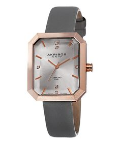 This Rose Goldtone & Gray Rectangle Leather-Strap Watch is perfect! #zulilyfinds