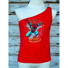 The Amazing Spiderman Womens One Shoulder Red Strapless Top Upcycled... ($25) ❤ liked on Polyvore featuring dresses, grey and women's clothing