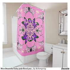 Nice Beautiful baby pink floral purple shade motif Shower  #Curtain #Nice #Beautiful #baby #pink #floral #purple #shade #motif Shower #Curtains