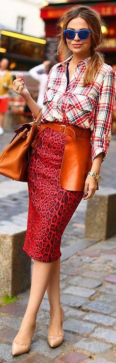 River Island Red/black Leo Print Pencil Midi Skirt