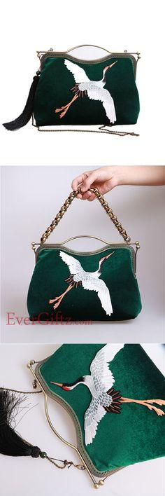 Women Handbag Clutch Vintage Velvet Embroidery Crane Kisslock Metal Frame Party Evening Handbag Women Wallet