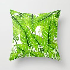 Spring Green Leaves - Summer Mood - Green and White Throw Pillow by pivivikstrm Couch Pillows, Down Pillows, Floor Pillows, Pillow Sale, Spring Green, White Decor, Designer Throw Pillows, Pillow Design, Green Leaves