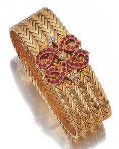 Important Estate Jewelry - Sale 08JL02 - Lot 3362 - Doyle New York-- Gold, Ruby and Diamond Bracelet