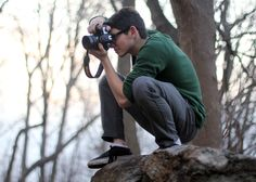 Student photographer at Purchase College. Photo by David Grimaldi