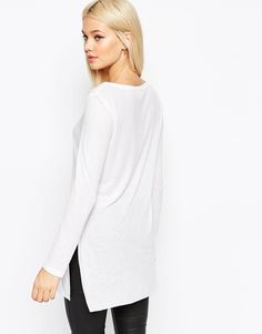 $29 with 30% off  ASOS Longline Top With Side Splits And Long Sleeves