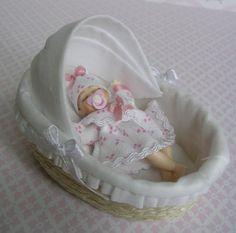 Dollshouse 1/12th scale miniature moses basket handmade by ForElfy