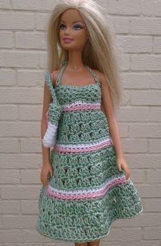 Green sundress and bag Free crochet pattern