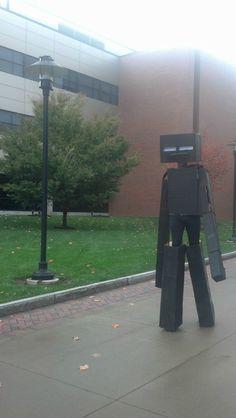 Enderman Halloween costume on RIT campus