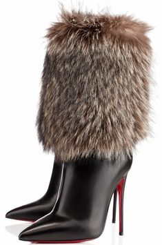 """Christian Louboutin """"Canichissima"""" strong pointed toe and sky high heel, fur-covered boots w/red bottoms Fur Boots, Bootie Boots, Walk This Way, Sexy Boots, Black Boots, High Heel Boots, High Heels, Beautiful Shoes, Ankle Booties"""