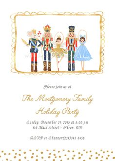 Nutcracker Ballet Watercolor Gold Holiday Christmas Party Birthday Baby Shower Invitations | Business Office Company | Printable Print Your Own Custom Birthday Baby Shower Invitation | Boy Girl Twin Siblings | Thank You Card Baby Shower Sprinkle Favors Surprise Announcement ____________________________________ Select RUSH SHIPPING to get your printed cards in your hands in 2-3 business days after you approve your proof! All shipping/rush fees are included in the prices displayed on the...