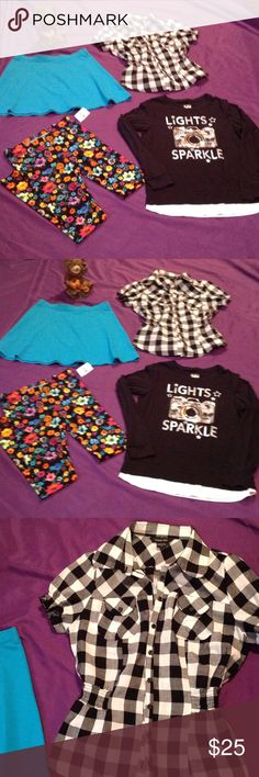 Jr girls 14-16 lot, skirt, 2 tops, leggings Super fun items, 1 NWOT skater skirt from Kidtopia in blue size 14-16, 1 pair of wild flowered leggings NWT from Lulu Luv in size 14-16, 1 cute black & white checked button down top with short sleeves & elastic at the waist in size small by Paper Tee, 1 long sleeved shirt with h camera on front in black & white from Justice in size 16. Other