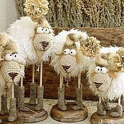 Buy and order owlets on Livemaster online shop. Shipped over Russia and the CIS. Production time: <br />. Materials: tree, 100% wool. Dimensions: 27 cm x 25 cm x 9 cm <br />