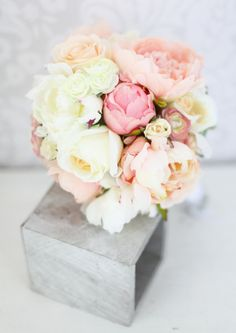 Silk Bride Bouquet Peony Flowers Pink Peach Cream by braggingbags, $89.00