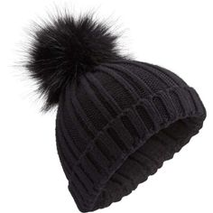 7aa61df841b513 Miss Selfridge Black Faux Fur Pom Pom Beanie Hat ($16) ❤ liked on Polyvore