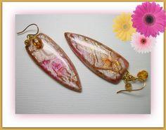 Teardrop Exotic Dangle Earrings, polymer clay