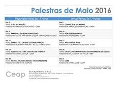 Calendário de Palestras do mês de Maio do CEAP – Centro Espírita Antônio de Pádua – Niterói – RJ - http://www.agendaespiritabrasil.com.br/2016/05/03/calendario-de-palestras-do-mes-de-maio-do-ceap-centro-espirita-antonio-de-padua-niteroi-rj/