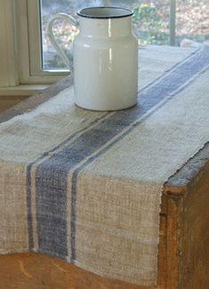 Beyond Grain Sack Striped Table Runner, Blue Stripe traditional table linens