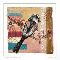 'Sounds and sweet airs...' is an original art piece combining paint, fabric collage and embroidery. Inspired by spring and Shakespeare, this is a one of a kind piece depicting a whimsical Long-tailed Tit garden bird that would bring joy to any home. This piece has been lovingly made by me in my Paint Fabric, Fabric Art, Bird Art, Vintage Lace, Shakespeare, Textile Art, Hand Embroidery, Embellishments, Whimsical