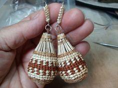 Large Basket Earrings woven by Karuk weaver Denna Dodds.