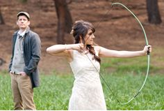 Hunger Games wedding theme ... no, really! Bow and arrow and everything!