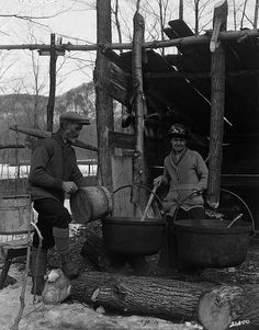 Boiling maple sap in the sugar bush / Ébullition de l'eau d'érable dans une érablière | by BiblioArchives / LibraryArchives